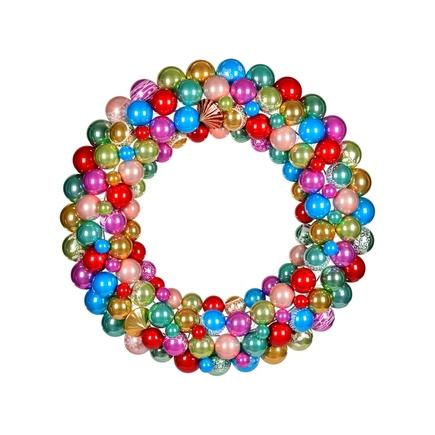 "Bijou Ornament Wreath 24"" Multi Pearl"