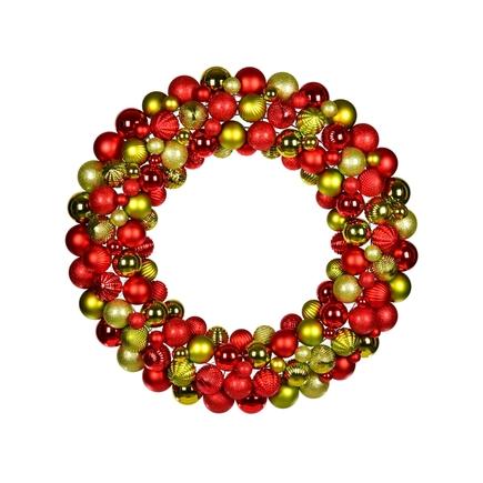 "Bijou Ornament Wreath 24"" Red/Lime"