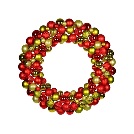 "Bijou Ornament Wreath 30"" Red/Lime"