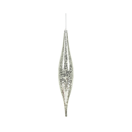 "Calla Slim Drop Ornament 13"" Set of 2 Silver"