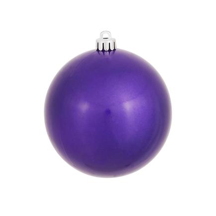 "Purple Ball Ornaments 4"" Candy Finish Set of 6"