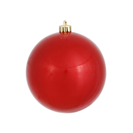 """Red Ball Ornaments 4"""" Candy Finish Set of 6"""
