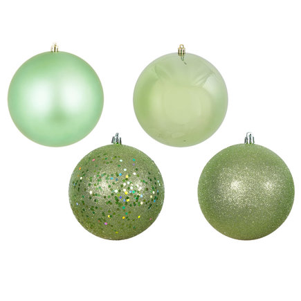 "Celadon Ball Ornaments 6"" Assorted Finish Set of 4"