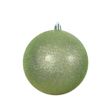 "Celadon Ball Ornaments 4"" Glitter Set of 6"