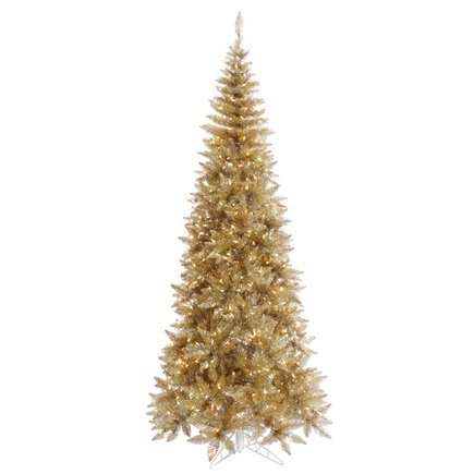 9' Champagne Fir Slim w/ LED Lights