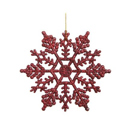 """Christmas Snowflake Ornament 4"""" Set of 24 Burgundy"""