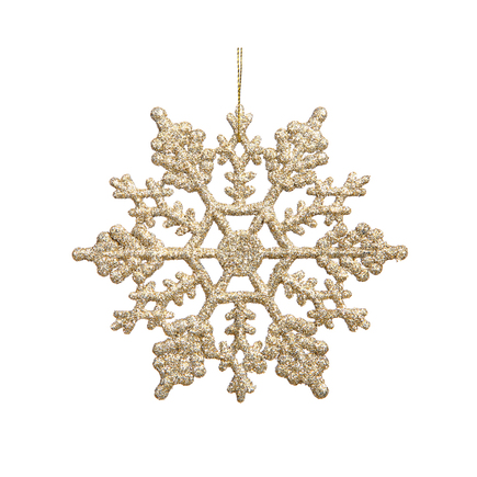 "Large Christmas Snowflake Ornament 6.25"" Set of 12 Champagne"
