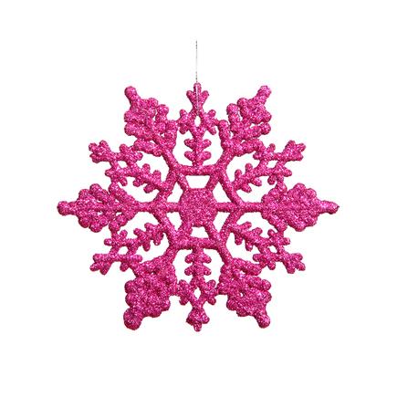 "Extra Large Christmas Snowflake Ornament 8"" Set of 12 Fuchsia"
