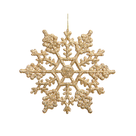 "Extra Large Christmas Snowflake Ornament 8"" Set of 12 Gold"
