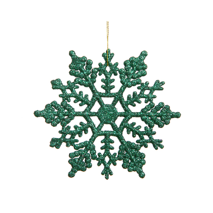 "Extra Large Christmas Snowflake Ornament 8"" Set of 12 Green"