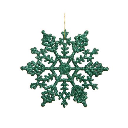 "Large Christmas Snowflake Ornament 6.25"" Set of 12 Green"