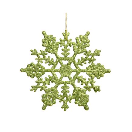 """Large Christmas Snowflake Ornament 6.25"""" Set of 12 Lime"""