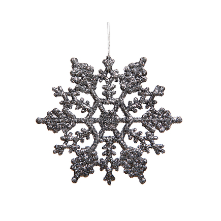 "Large Christmas Snowflake Ornament 6.25"" Set of 12 Pewter"