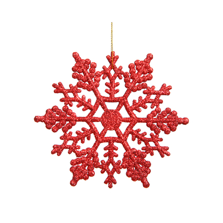 "Large Christmas Snowflake Ornament 6.25"" Set of 12 Red"