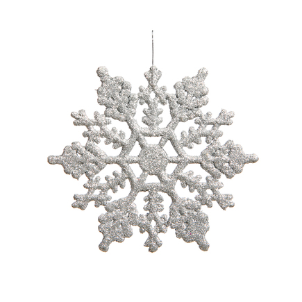 "Large Christmas Snowflake Ornament 6.25"" Set of 12 Silver"