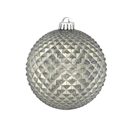 "Diamond Glitter Ball 6"" Set of 4 Pewter"