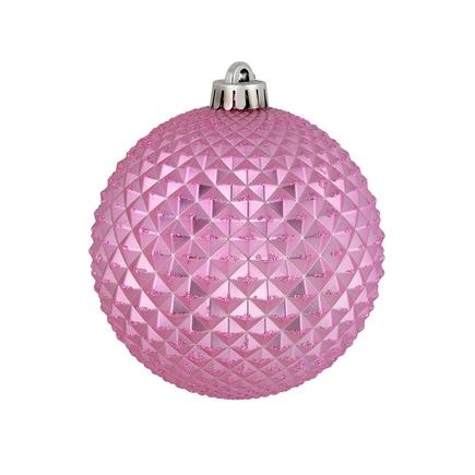 """Diamond Glitter Ball 4"""" Set of 6 Pink"""