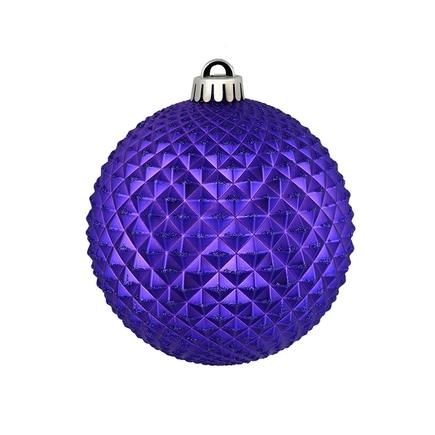 "Diamond Glitter Ball 4"" Set of 6 Purple"