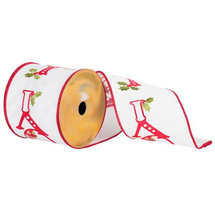 "Joy Embroidered Ribbon 4"" White"