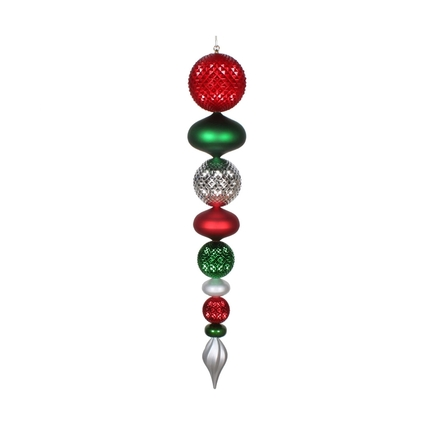 "Fiona Finial 45"" Red/Green/Silver"
