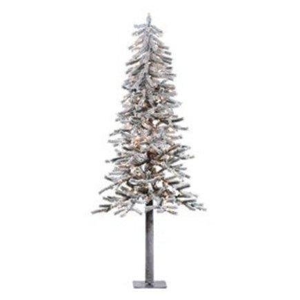 6' Flocked Alpine Tree w/Clear Lights