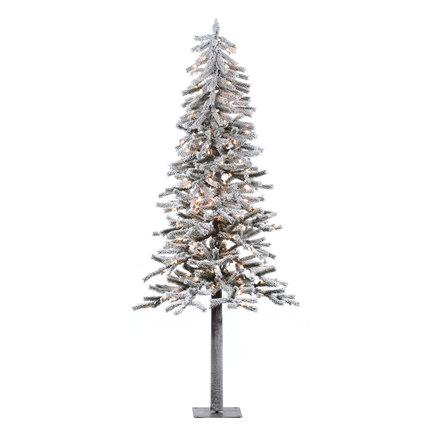 7' Flocked Alpine Tree w/Clear Lights