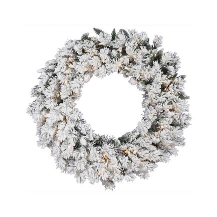 """Flocked Brush Pine Wreath LED 30"""""""