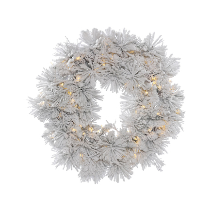 Flocked Siberian Pine Wreath LED 30""