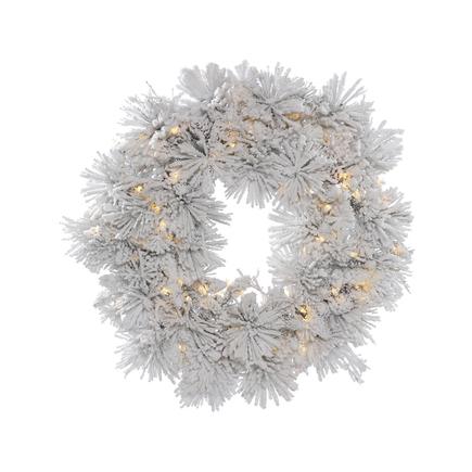 "Flocked Siberian Pine Wreath LED 36"""