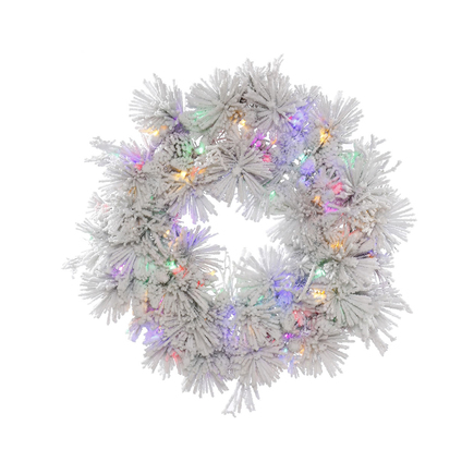 Flocked Siberian Pine Wreath LED Multi 36""