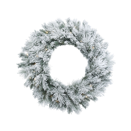 Flocked Mountain Pine Wreath LED 30""