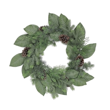 """Frosted Magnolia Wreath 24"""""""