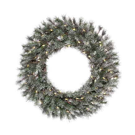 """Frosted White Pine Wreath LED 24"""""""
