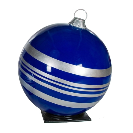 """Giant Outdoor Ball Ornament 49"""" Striped Blue/Silver"""