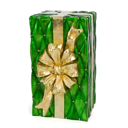"Christmas Gift Box 30"" Green/Gold"