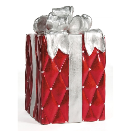 """Christmas Gift Box 23"""" Red/Silver"""