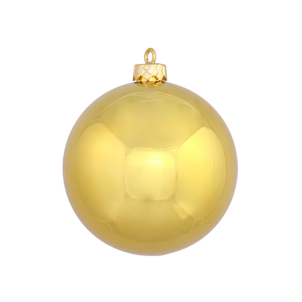"Gold Ball Ornaments 6"" Shiny Set of 4"