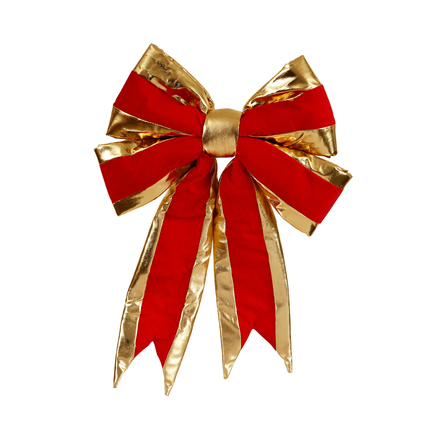 "Gold Trim Structural Velvet Bow 16"" x 19"""