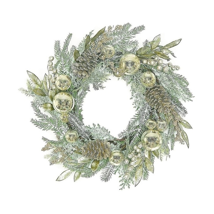 "Holiday Elegance Wreath 24"" Champagne"