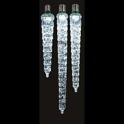 """LED Cascading Icicle Bulb 9"""" Set of 2 Cool White"""