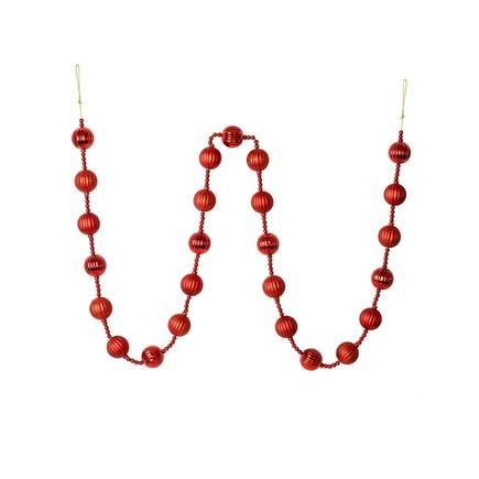 Ivy Ball Garland 6' Red