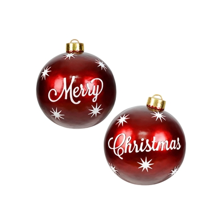 "Merry Christmas Ball Ornament 26"" Set of 2"