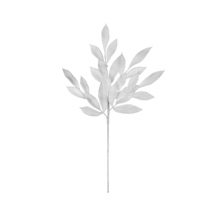 "Sparkly Bay Leaf Spray 22"" Set of 12 White"
