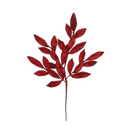 "Sparkly Bay Leaf Spray 22"" Set of 12 Red"