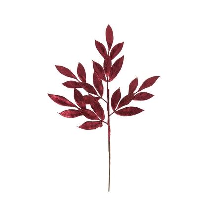 "Sparkly Bay Leaf Spray 22"" Set of 12 Burgundy"