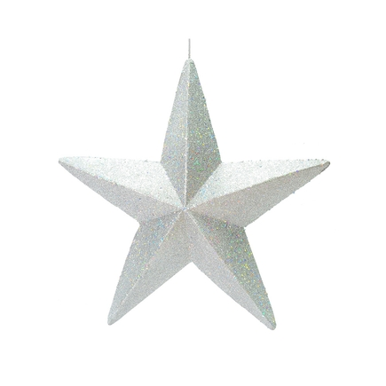"""Spirit Outdoor Glitter Star 23"""" Silver"""