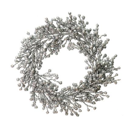 "Outdoor Glitter Wreath 22"" Silver"