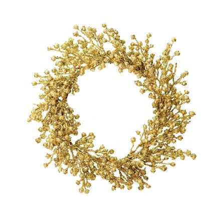 "Outdoor Glitter Wreath 22"" Gold"