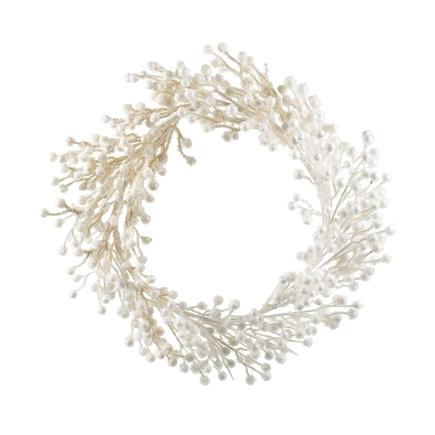 """Outdoor Glitter Wreath 22"""" White"""