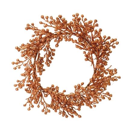 "Outdoor Glitter Wreath 22"" Rose Gold"